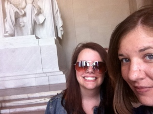 Michelle and I do a selfie in front of the Lincoln Memorial. September 2013